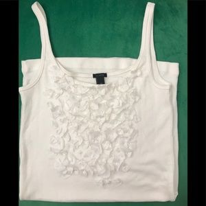 J. Crew White Knit Tank Top with Flowers in front